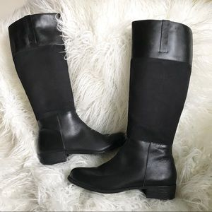 Lands End tall black leather & canvas riding boots